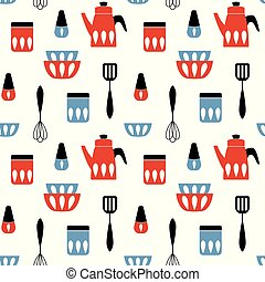 padrão, vetorial, utensil., seamless, cozinha