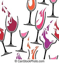padrão, vinho., seamless, óculos