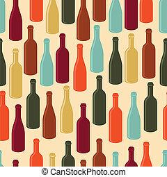 padrão, vinho, seamless, bottles.