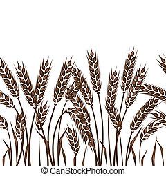 padrão, wheat., seamless, orelhas
