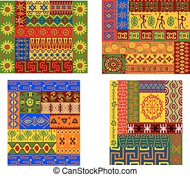 padrões, africano, coloridos, étnico