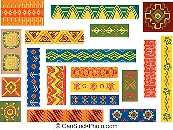 padrões, africano, ornamentos, étnico
