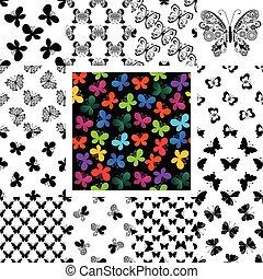 padrões, borboletas, jogo, seamless