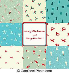 padrões, cartão natal, seamless