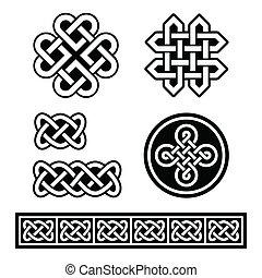 padrões, celta, irlandês, tranças