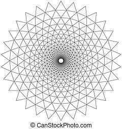padrões, concêntrico, branca, circular