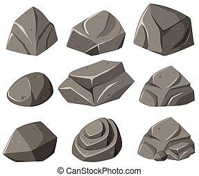 padrões, diferente, cinzento, pedras