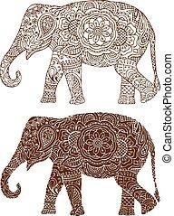 padrões, elefante índio