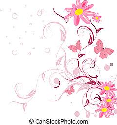 padrões florais, com, borboletas