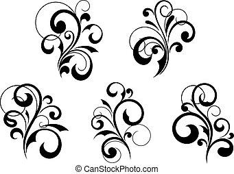 padrões florais, elementos