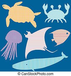 padrões, peixe, silhuetas, 2, jogo, simples