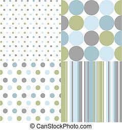 padrões, seamless, pontos polka
