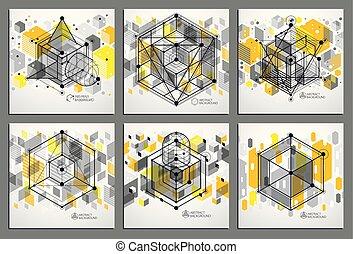 padrões, teia, uso, cubo, técnico, jogo, abstratos, gráfico, amarela, experiência., engenharia, malha, esboço, textured, trendy, plano, vetorial, geomã©´ricas, design.