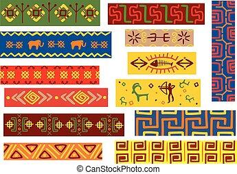padrões, tribal, africano, ornamentos, étnico