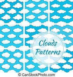 padrões, vetorial, nuvens, seamless