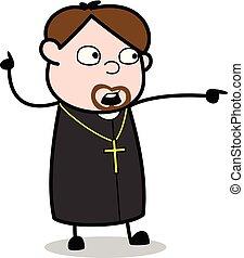 padre, apontar, mostrando, -, ilustração, vetorial, dedo, ...