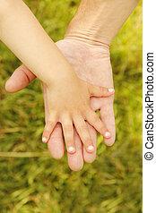 padre, asideros, niño, mano, pequeño