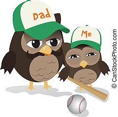 padre, búho, beisball, día