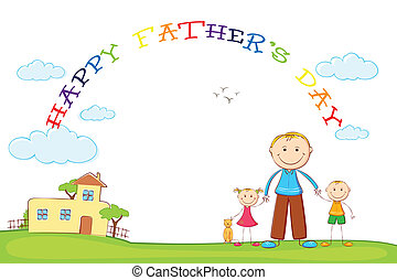 padre, bambini, padre, giorno, fondo