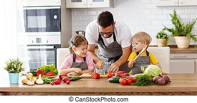 padre bambini, preparare, verdura, insalata