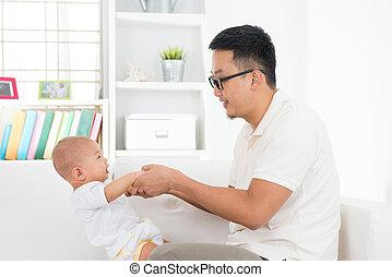 padre, bambino, gioco, asiatico
