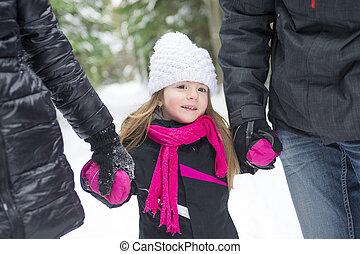 padre, camminare, park., figlia
