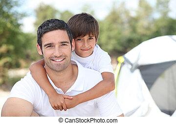 padre, campamento, hijo