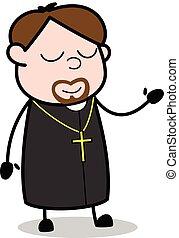 padre, cochilando, -, ilustração, vetorial, religiosas, caricatura