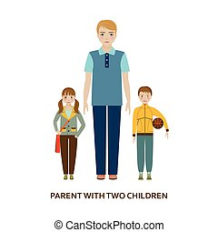 padre, con, dos, children., caricatura, ilustración