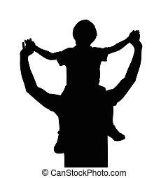 padre, con el niño, en, hombros