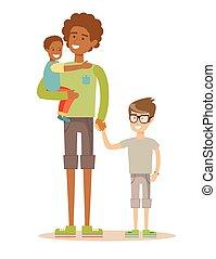 padre, con, el suyo, dos niños, teniendo, un, agradable, time., carrera mezclada, family.