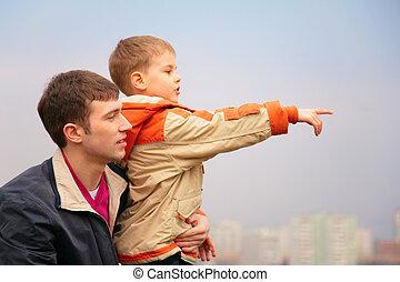 padre, con, hijo, quién, puntos, dedo, a, derecho