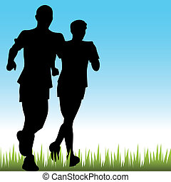 padre, corredores, hijo