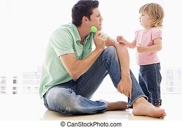 padre, dentro, figlia, gioco