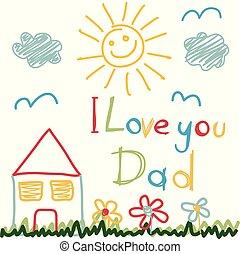 padre, disegnato, giorno, mano scheda