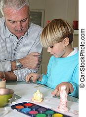 padre e hijo, dibujo