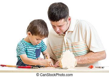 padre e hijo, trabajo, juntos