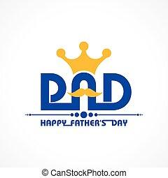 padre, elegante, feliz, día, saludo