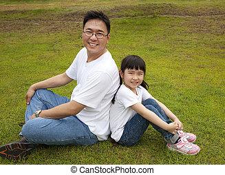 padre, erba, figlia, felice, seduta