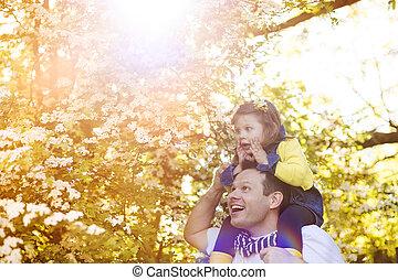 padre, felice, figlia, suo, natura