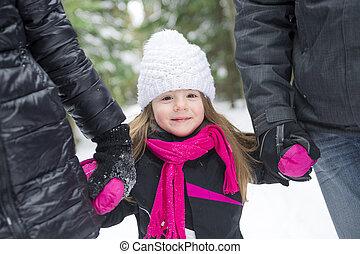 padre, figlia, park., camminare