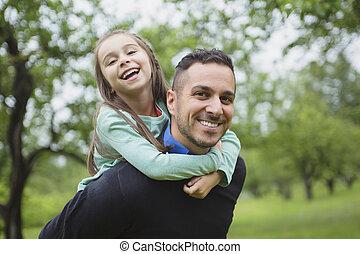 padre, figlia, prato, foresta