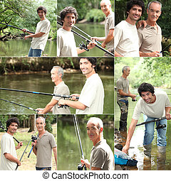 padre, figlio, bonding, pesca, durante, viaggio