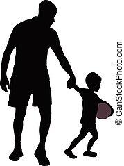 padre figlio, camminare,