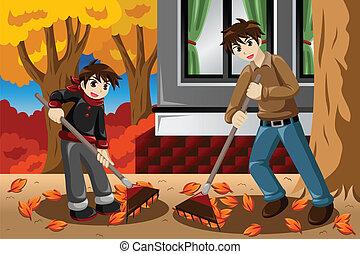 padre, figlio, foglie inclinate, durante, stagione caduta
