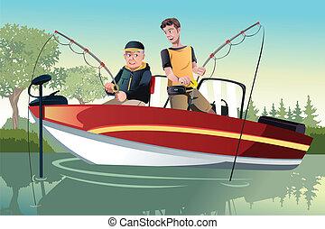padre figlio, pesca