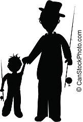 padre, figlio, silhouette