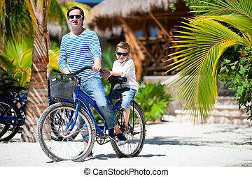 padre figlio, su, bicicletta