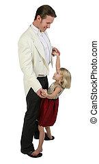 padre, formals, figlia, ballo