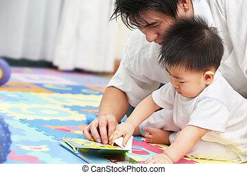 padre, gasto, tiempo, con, hijo